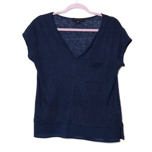 Sanctuary | Linen V Neck Tee in Navy S